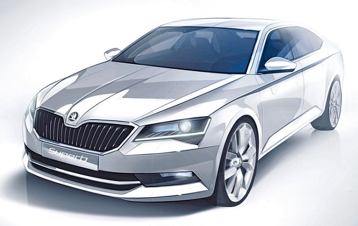 2016-Skoda-Superb-sketch-front-three-quarters